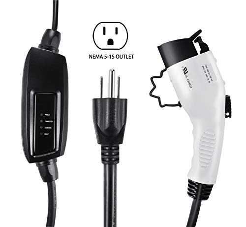 Lectron 120V/240V 16 Amp Level 2 EV Charger with 21ft Extension Cord J1772 Cable & Nema 5-15 Plug
