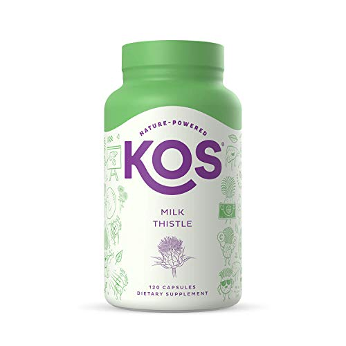 KOS Milk Thistle Capsules - 500mg Potent Milk Thistle Seed Extract - Powerful Detox Enhancer, Promotes Healthy Digestion, Natural Liver Health Support - 120 Plant-Based Capsules