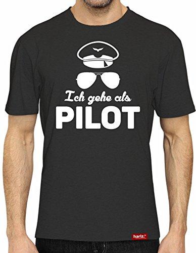 HARIZ #Karneval: Original Collection T-Shirt // 36 Designs wählbar // Schwarz, S-XXL // Fasching I Halloween I Altweiberfastnacht I Verkleidung #Karneval517: Ich gehe als Pilot L