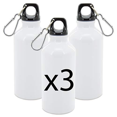 My Custom Style 3 - Botellas de aluminio de 420 ml, color blanco, 17 x 6,6 cm