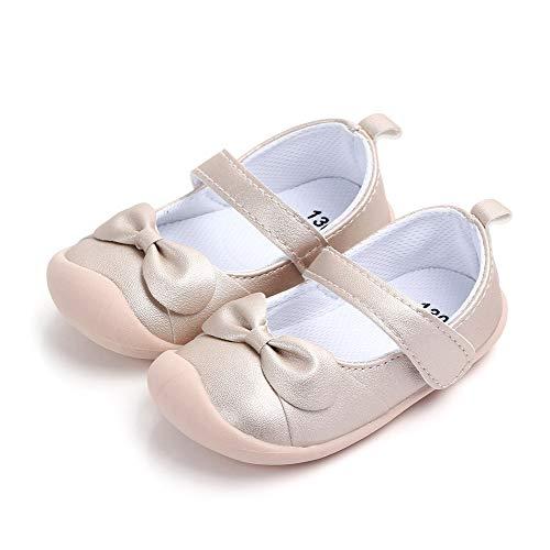 LACOFIA Baby Mädchen Ballerinas Kleinkind Klettverschluss rutschfest Lauflernschuhe Gold 20.5