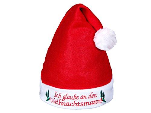 Alsino Weihnachtsmützen mit Licht LED Nikolausmützen blinkend, Modell wählen:wm-55 Ich glaube an.
