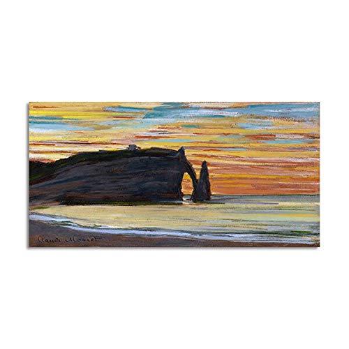 N / A Paesaggio Poster Tela Pittura Stretto di Mare Immagini murali per Soggiorno Decorazione Domestica Art Sunrise A 20X40CM
