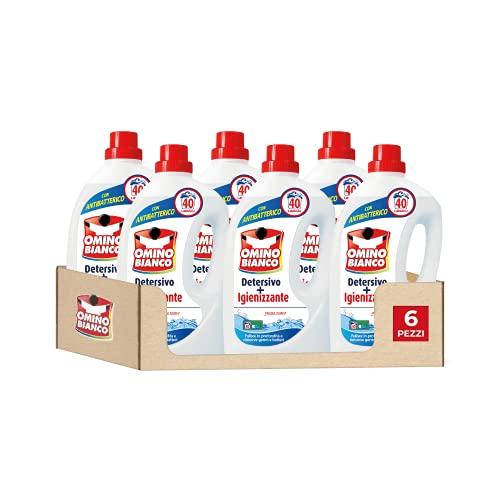 Omino Bianco - Detergente para lavadora, higienizante líquido, higieniza las prendas y elimina los gérmenes y bacterias, formato conveniente, 240 lavados, 2000 ml x 6 paquetes