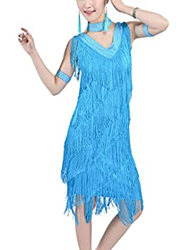Whitewed Cheap Vintage 20s Themed 1920s Great Gatsby Party Flapper Dresse Outfit Ocean Blue 4/6