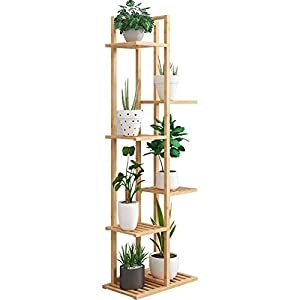 LILIS フラワースタンド 園芸ラック フラワースタンド 植物収納ラック ヨーロピアンスタイル 多層 竹フローリング 庭 装飾フレーム