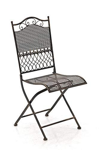 CLP Eisen-Klappstuhl Kiran im Jugendstil I Klappbarer Gartenstuhl mit edlen Verzierungen I erhältlich, Farbe:Bronze