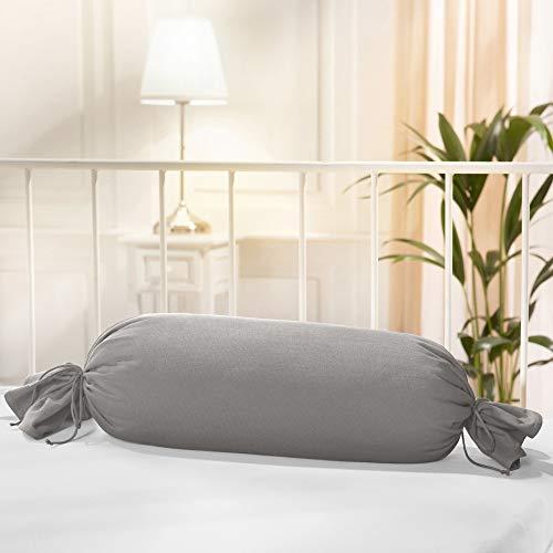 Erwin Müller Nackenrollenbezug Memmingen Interlock-Jersey Silber Größe 40x15 cm Ø - formstabil, faltenfrei, anschmiegsam, mit Bindeband (weitere Farben)