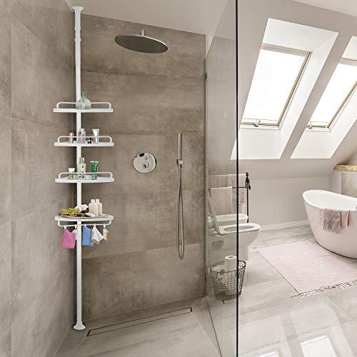 Deuba Estantería telescópica de baño ducha Blanca estantes de esquina ajustables 155 - 290 cm Organización toallas jabón