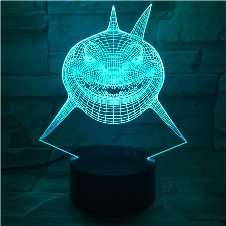 jiushixw 3D Acryl Nachtlicht mit Fernbedienung Farbwechsel Lampe Cartoon Shark Lava Halloween Stimmung Geschenk Schlafzimmer Regeneration Tischlampe