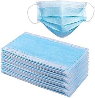 50pcs 3-Ply Disposable Face Mask with Earloop,Breathable Non-Woven Fabric Mouth Cover for Office, Outdoor