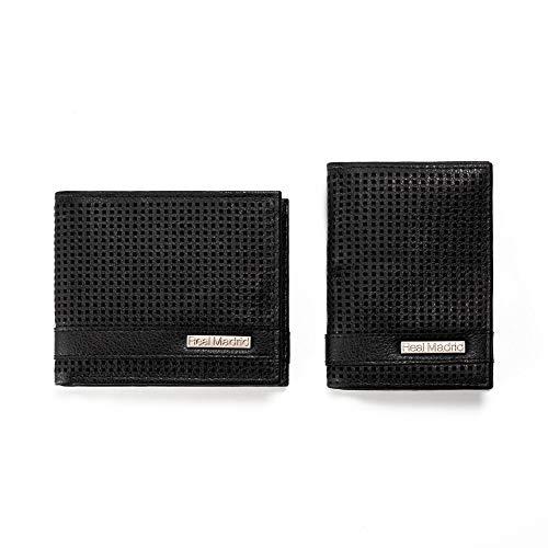Cartera y Tarjetero Fabricado en Piel. Juego de 2 Piezas. Color Negro RMJ- 80022