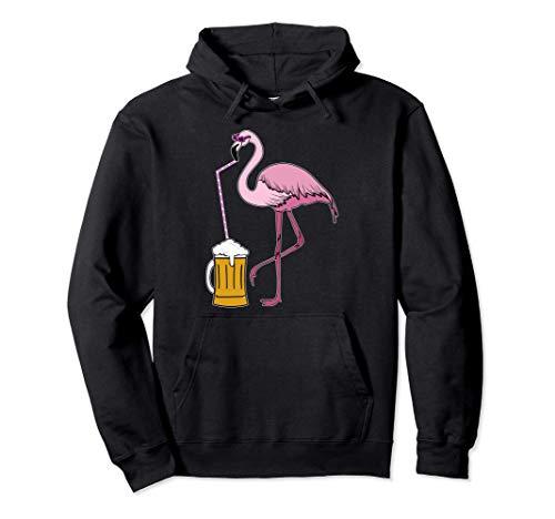 Fenicottero divertente che beve birra tropicale, festa Felpa con Cappuccio