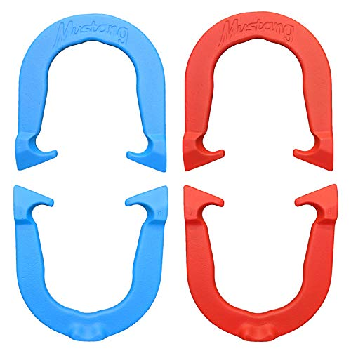 Mustang Professional Pitching Horseshoes- Made in The USA (Red & Blue- Two Pair Set (4 Shoes))