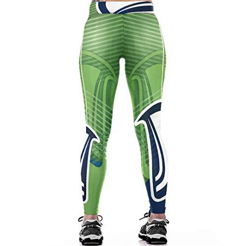 RFCXASN Europa y América la impresión 3D Polainas de Las Mujeres de la Cintura de los Pantalones Impresos Steelers Delgado Aptitud Leggins Blue L