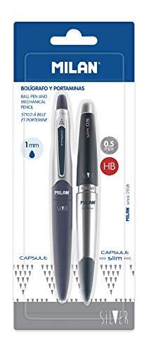 Milan Blíster 1 Bolígrafo Azul y 1 Portaminas 0.5 mm Capsule Silver
