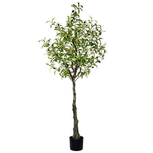 Wofair 5 Ft Artificial Olive Tree in Pot Artificial Silk Tree Olive Plant UV Resistant Fake Plant for Home House Indoor Outdoor Decor