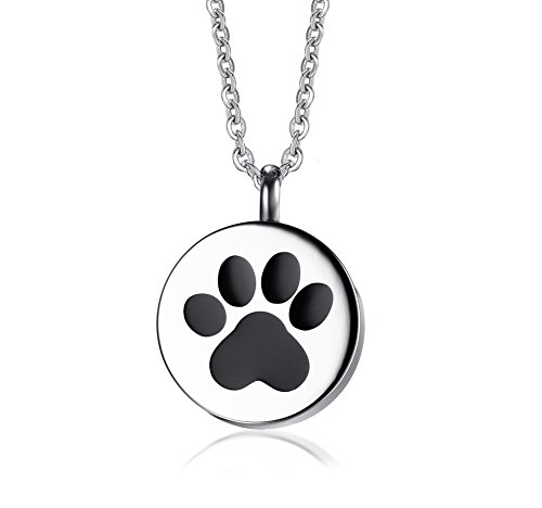 VNOX Edelstahl Pfote Memorial Feuerbestattung Urn Andenken Anhänger Halskette für Hund Katze Haustiere Asche
