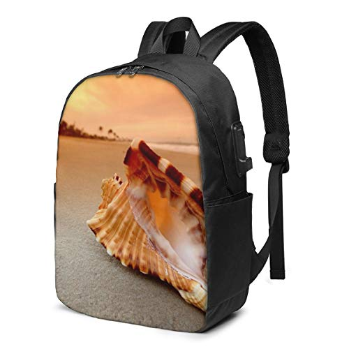 Sunset Over The Sea with The Shell Conch Printed Travel Lightweight Backpack with USB Charging Port & Headphone Port