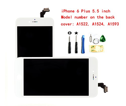 White For iPhone 6 Plus 5.5 Inch LCD Screen Replacement Full Digitizer Assembly Frame Set Front Glass Display with Required Tool Kit