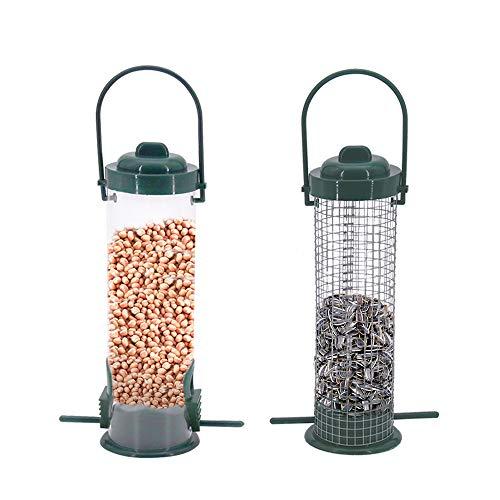 Lifreer 2PCS Bird Feeders, Bird seed, Bird Feeders Stations, Bird Feeders Hanging, Bird feeders for Small Birds, Bird Feeder for Wild Birds Seed Feeder, Sunflower Hearts Bird Food