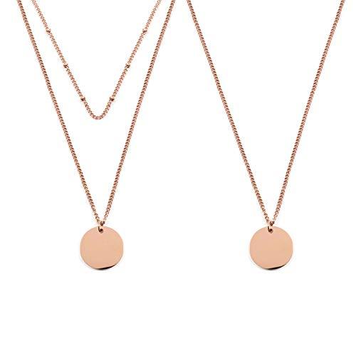 Flongo Damenkette Frauen Anhänger BFF Ketten Halskette für 2 Zweireihige Kette mit Kreis Anhänger in Rosegold Mehrreihige Kette Runde Plättchen Medaillon aus Edelstahl