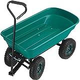 Tectake 403576 Chariot de Jardin à Main Remorque Brouette 4 Roues Benne Basculante 52L Vert