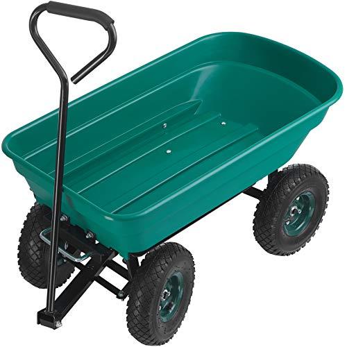 TecTake 403576 Handwagen mit Kippfunktion, 52 Liter, leichtgängige Lenkachse, luftgefüllte Gummireifen, kippbarer Bollerwagen für den Garten, grün