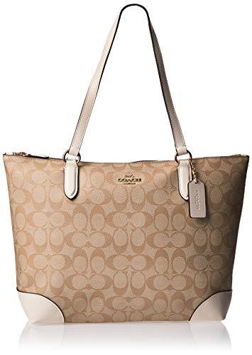 COACH ZIP TOP TOTE IN SIGNATURE CANVAS, F29208, LIGHT KHAKI CHALK