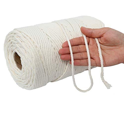 Filato macramè, super morbido, 4 mm x 200 m, corda di cotone naturale originale con 4 strati, cordoncino in cotone per acchiappasogni, fioriere di fiori, appendini da parete, fai da te, decorazione