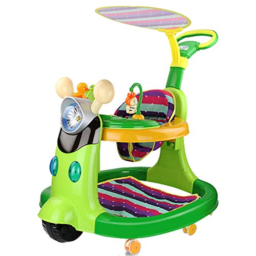 Andador de bebe Walker para niños 6/7-18 Meses antivuelco Push Can Sit multifunción Baby Music Walker FANJIANI (Color : Verde)