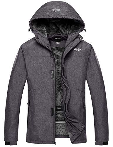 Wantdo Men's Winter Jacket Windproof Thick Windcheater Camping Hoodie Grey XL