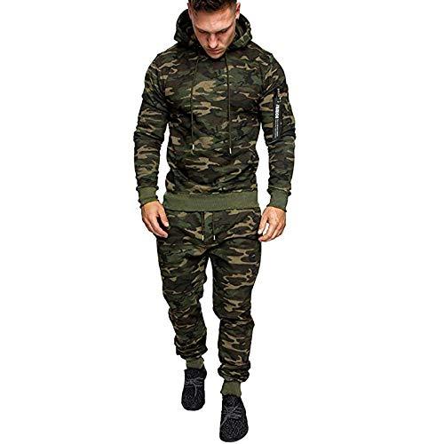 Xmiral Felpa Top Pantaloni Set Uomo Autunno Splicing Zipper Print Tuta Sportiva Tuta (M,2Army Green)