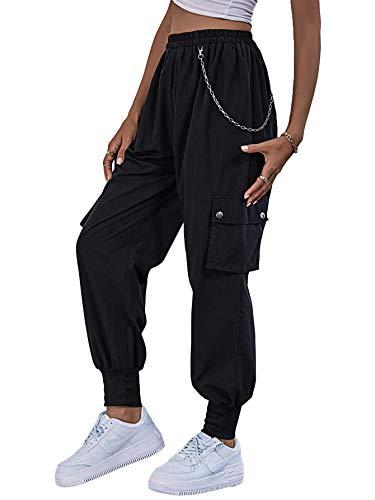 SOLY HUX Pantalones cargo para mujer, elásticos, cintura elástica, pantalones de deporte, yoga, con bolsillos Negro L