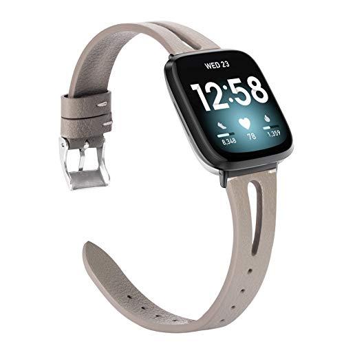Glebo Compatible con Fitbit Versa 3/Fitbit Sense pulsera para hombre y mujer, suave piel auténtica Versa 3, pulsera deportiva para Fitbit Versa 3, color gris