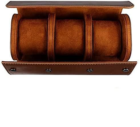 Caja de almacenamiento para relojes de 3 ranuras, portátil, multifuncional, estuche de viaje, caja de cuero portátil, organizador de rodillos de reloj, soporte para relojes como regalo