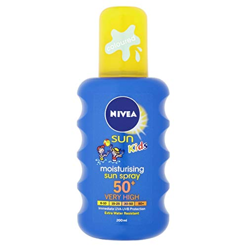 NIVEA SUN Kids Protect & Care Coloured Spray SPF 50+ (200 ml) Sunscreen Spray with SPF 50 Kids...