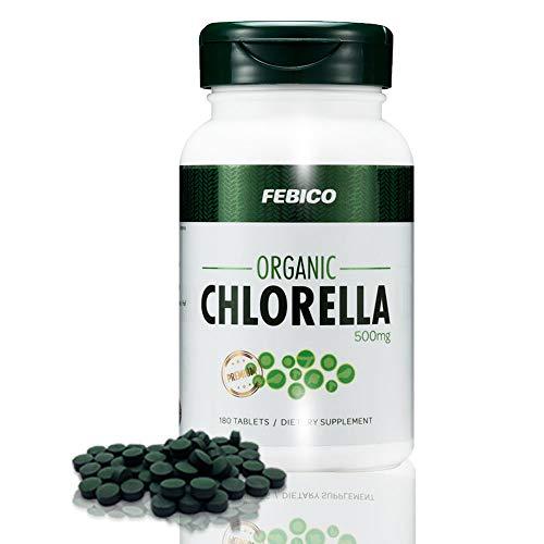 FEBICO Premium Organic Chlorella Tablets- Vegan, Best Green Superfood, Non-GMO, High Dietary Fiber, Rich Protein- USDA, Naturland, Halal Certified- 500mg, 180 Counts, 30 Days
