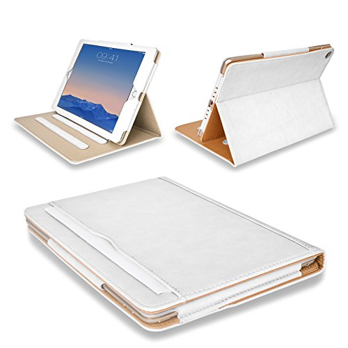 MOFRED White & Tan Apple iPad Air (Launched 2013) Leather Case-MOFRED- Executive Multi Function Leather Standby Case for Apple iPad Air with Built-in magnet for Sleep & Awake Feature + Screen Protector + Stylus Pen
