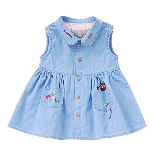 AIKSSOO lichtblauwe denim rok voor kleine kinderen babymeisjes 2~6 jaar oude geborduurde mouwloze zomerjurk