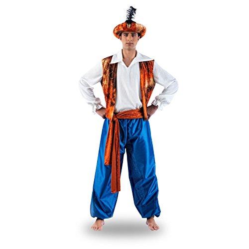 Elbenwald Aladin Orientalisches Kostüm, glänzend, 4-teilig mit Turban, wie aus dem Märchen aus 1001 Nacht - L