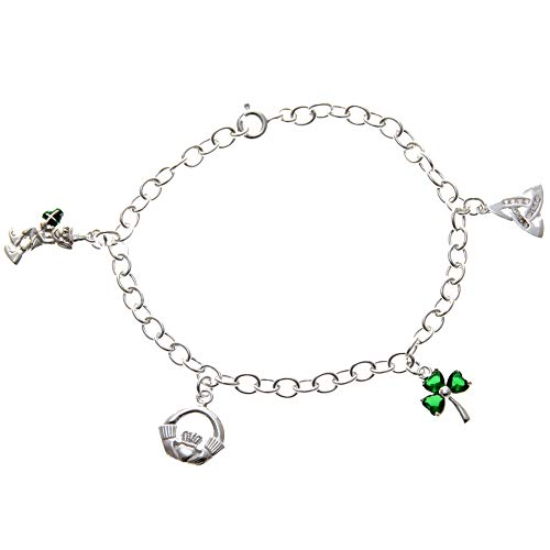 Alexander Castle Sterling Silver Irish Charm Bracelet with Leprechaun, Claddagh, Shamrock and Trinity Charms. Comes in a Jewellery Presentation Gift Box