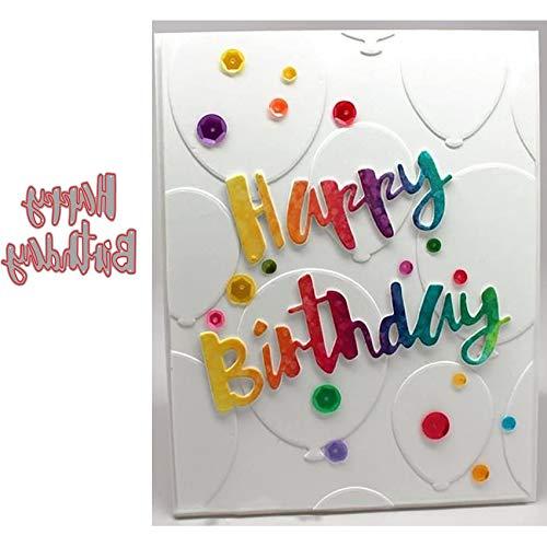 Happy Birthday Metall-Stanzformen, Blumen-Bordüre, Happy Birthday Party, Einladungskarte, Stanzschablonen für DIY, Prägung, Foto, dekorative Papierschablonen, Scrapbooking, Kartenherstellung