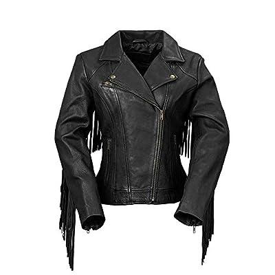 Whet Blu The Daisy Women's Fringed Leather Jacket,Black,Small