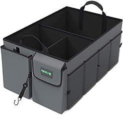 Drive Auto Trunk Organizers and Storage - Collapsible Multi-Compartment Car Organizer w/ Adjustable Straps - Automotive...