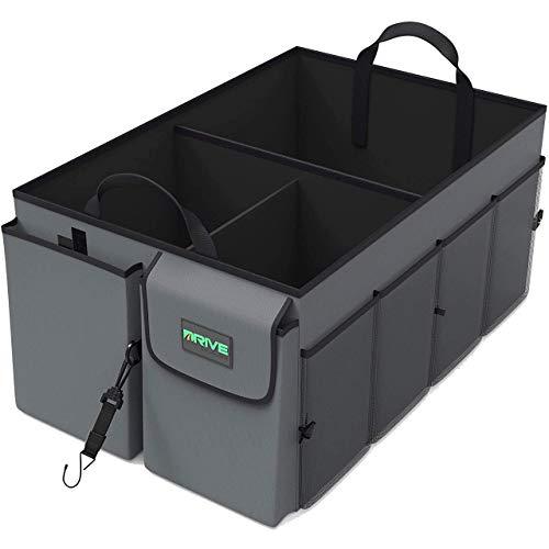 Drive Auto Products, Auto Organizer - Kofferraum Organizer - Kofferraumtasche mit Spanngurten - Praktische Auto-Faltbox - Robuste Tasche mit vielen Fächern