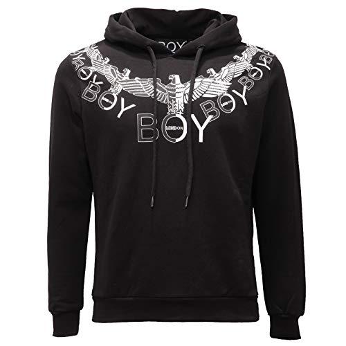 BOY LONDON 3074AE Felpa Cappuccio Uomo Cotton Black Print Sweatshirt Man [XS]