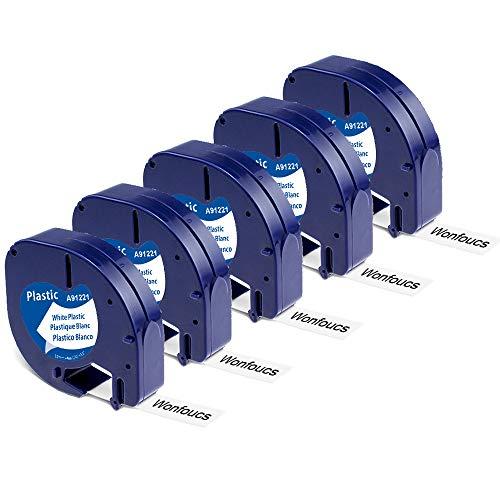 Wonfoucs Kompatible Schriftband als Ersatz für Dymo Letratag Etikettenband 12mm x 4m 91201 S0721660 für Dymo Letratag XR Bänder LT-100H LT-100T Kunststoff Etiketten Schwarz auf weiß, 5er Pack
