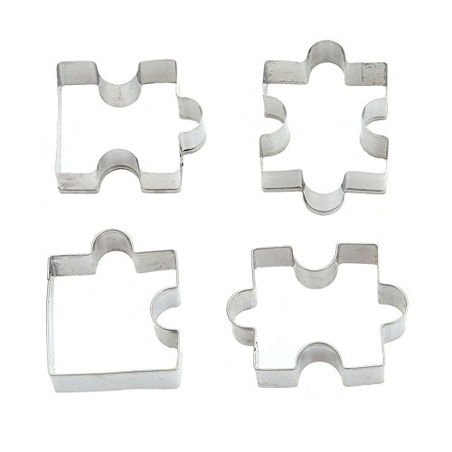 HENGSONG Edelstahl Fondant Keks Ausstecher Kuchen Plätzchen Ausstecherform Puzzle Form 4 Stück