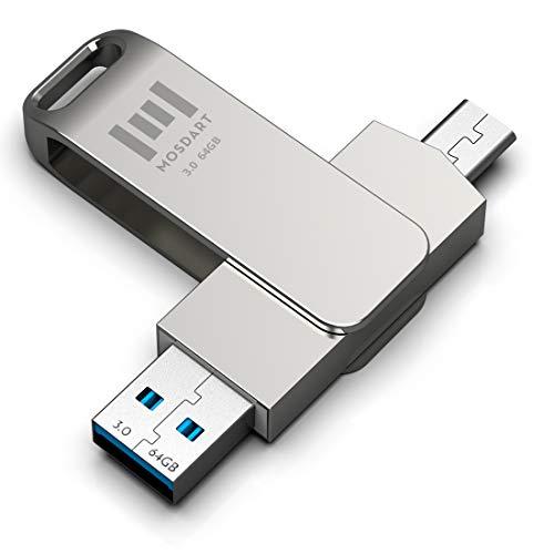 MOSDART 64GB USB C Flash Drive 2 in 1 OTG USB C to USB A 3.0 Dual Thumb Drive 64 GB Type c Memory Stick Thunderbolt 3 Port Metal Jump Drive with 360 Degree Rotation for USB-C Devices